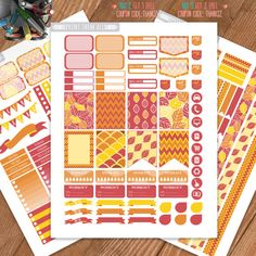 Autumn, Fall, Leaf Printable Planner Stickers, Weekly/Monthly Kit, Erin Condren…