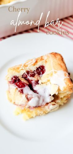 Perfect summer dessert!!! Cherry Almond Bar Cookies are delicious, moist and chewy - the perfect treat! Yummy Treats, Delicious Desserts, Sweet Treats, Bar Cookies, Cookie Bars, Breakfast Casserole With Bread, Cookie Recipes, Dessert Recipes, Cherry Bars