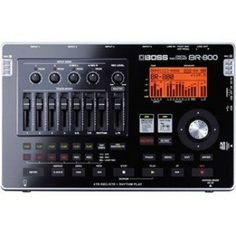 Boss BR-800, a battery powered studio to go. The sleek new design is made possible by touch-sensor switches and SD-card media recorder. Up to four tracks can be recorded simultaneously with eight tracks of simultaneous playback, plus an additional stereo track dedicated to the built-in rhythm generator
