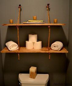 colonne salle de bain et meuble toilette en étagère suspendue wc bois et corde