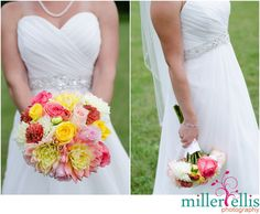yellow pink and orange bouquet
