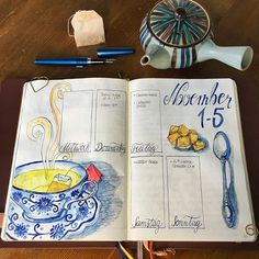 wieder_schief A bit late but here is the weekly spread from last week. A cup of tea when it's cold outside.