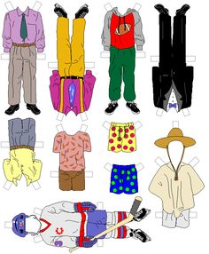 Paper doll with a set of clothes. Cute hipster boy. Template for ...