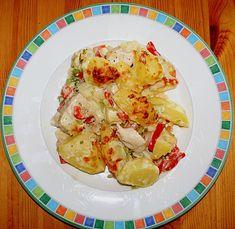Chefkoch.de Rezept: Gebackene Kartoffeln mit Lauch und Hähnchen