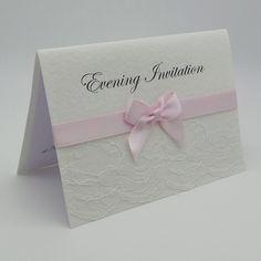 LUXURY HANDMADE LACE PERSONALISED WEDDING / EVENINGS INVITATION - LACE SATIN RIBBON OPTIONAL EMBELLISHMENTS, Vintage Lace Wedding Cards Available from www.vintagelaceweddingcards.co.uk