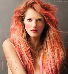 Pastel hair<3  Stunning shades of red, orange, pink and peach.