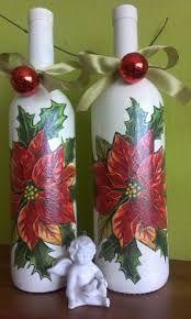 Resultado de imagem para butelka decoupage Recycled Wine Bottles, Wine Bottle Art, Painted Wine Bottles, Diy Bottle, Wine Bottle Crafts, Vintage Christmas Crafts, Xmas Crafts, Decoupage Glass, Christmas Wine Bottles