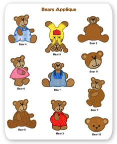 Free Applique Patterns Download | Teddy Bears Embroidery Applique Designs