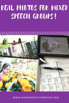 Real Photos for Mixed Speech and Language Therapy Groups - work on multiple skills at once with this no prep pack