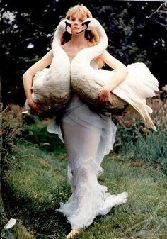 This would be me! Trying to catch my pet swans on Kelcie's wedding day!