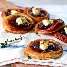 Caramelized Onion, Feta, and Honey Tartlets