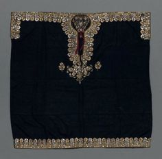 Woman's tunic  Indian (Parsi), 19th century  India ACCESSION NUMBER  43.430 Woman's tunic of black plain-weave silk with border design at neck, arm holes, across shoulders and at bottom edge of repeating scalloped floral motifs couched in gold- and silver-wrapped thread accented with red and gold sequins; red plain-weave silk tie at neck.