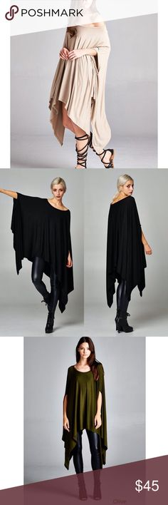 """""""Contemporary"""" Loose Poncho Tunic Top Loose poncho tunic top with armholes. Available in taupe, black, silver, olive. This listing is for the TAUPE. Brand new. One size fits most - S-XXL Bare Anthology Tops Tunics"""