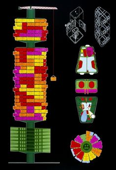 Peter Cook-Plug-in city-Elevations and Plans of a Capsule homes (1964)