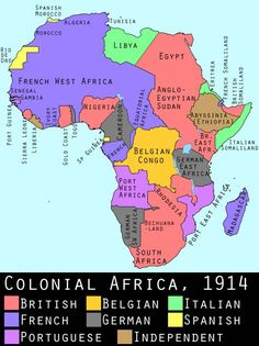 The Berlin Conference of 1884–85 (The General Act of the Berlin Conference). Divided Africa up - many countries took a piece as you see by the legend.