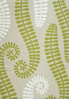 Aurora Fabric Linen Union A natural linen union fabric printed with a large green and white fern leaf design.