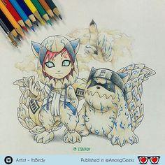 Gaara and Shukaku Chibi . . . #Gaara #Shukaku #chibi #kigurumi #naruto #narutoshippuden #kawaii #Draw #Drawing #Art #Fanart #Artist #Illustration #Design #sketch #doodle #Geekart #Arthelp #Anime #Manga #Otaku #Gamer #Nerdy #Nerd #Comic #Geek #Geeky