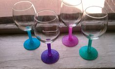 """I heard u can """"set"""" the glitter glasses by putting them in the oven at 350 degrees for 30 mins. Be sure to place the glasses in the oven as it heats, so the glasses wont shatter. (yikes) Leave the glasses in the oven to cool down. Allow them to sit for 72 hours before washing or using them. This will make them machine washable. You can also do this for customizing coffee cups or plates w/sharpie."""