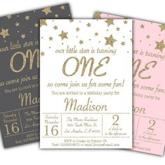 pretty pink gray gold glitter twinkle stars first birthday party invitation  invites by DamesAndDollies