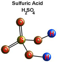 The sulfuric acid formula and molecule shows the strange ability of sulfur to form 6 covalent bonds rather than the usual 4.