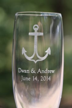 Personalized Champagne Flutes for Wedding - Nautical Theme Etched Glass