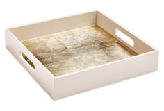 "12"" Square Two-Tone Tray, Taupe"
