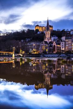 Lyon, France - Saint-Georges at night