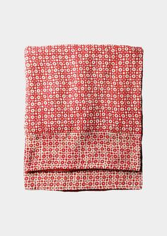 SHARVARI QUILT  Reversible bedspread in two layers of fine, soft cotton. A woodblock printed front with a back made from recycled saris – so no two are the same. Lines of kantha stitch on front and back