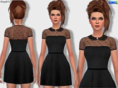 -a cute black dress, with collar and transparent star designs on chest/neck and sleeves  Found in TSR Category 'Sims 4 Female Everyday'