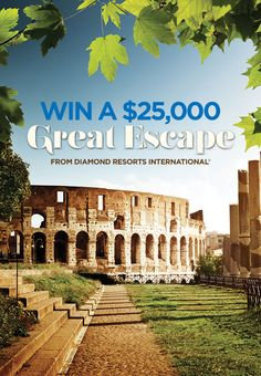 My Great Escape is 2 weeks in Italy. I really hope I win the Diamond Resorts International® $25,000 Great Escape sweepstakes! It's a two week dream vacation to the destination of your choice worth up to $25,000. You should enter too. Just remember your friends if you win!