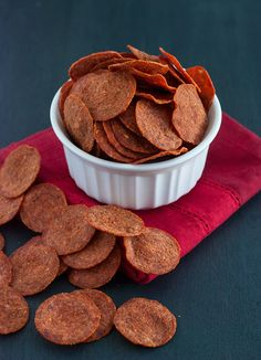 Pepperoni Chips are tasty, crunchy, and low carb friendly. Oven instead of microwave though.