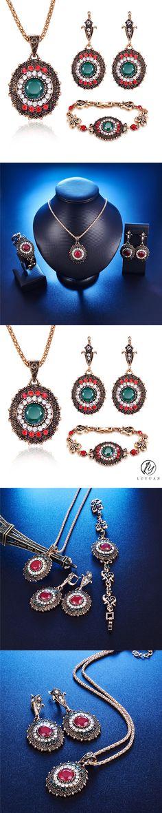 Luxury Vintage Crystal Jewelry Set Bohemian Women Wedding Elegant Jewelry Antique Gold Color Trendy Round Drop 3Pcs Necklace Set