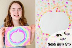 Mess free art with Neon Kwik Stix - the perfect smash up of markers and paint!    Running With Spears #kidsartsupplies #neon #artproject