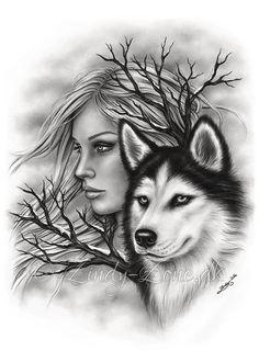 Winter Souls Husky Dog Wolf Spirits Art Print Emo Fantasy Girl Zindy Nielsen - Invierno las almas perro Husky lobo espíritus lámina Emo Les images impressionnantes de diy face m - Fantasy Girl, Fantasy Wolf, Anime Wolf, Wolf Tattoos, Girl Tattoos, Animal Drawings, My Drawings, Husky Tattoo, Spirited Art
