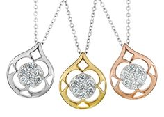 The beautiful Hearts On Fire Copley pendant comes in rose gold, white gold, and yellow gold! available at Crescent Jewelers. www.singingjeweler.com