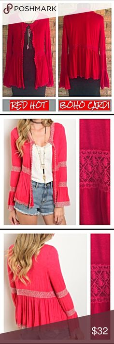 "Red Hot Boho Bell Sleeve Crochet Trim Cardi Kimono Designed for the red hot bohemian beauty!  Super gorgeous open cardigan with crochet trim all in red!  Pretty bell sleeves and nice flowy feminine cut & fit. Super soft 97% Polyester 3% Spandex. Small Medium & Large  Measurements: ❤️Small Bust 32-34 Length 23"" ❤️Medium Bust 34-36 Length 24"" ❤️Large Bust 36-38 Length 25"" long Sweaters Cardigans"