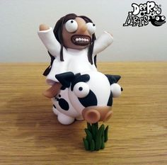 Jesus on a cow by Dee Raa Arts polymer clay cute kawaii sculpey fimo https://www.facebook.com/DeeRaaArts