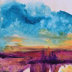 "BIG SKY by Sandra Duran Wilson Acrylic ~ 8"" x 8"""