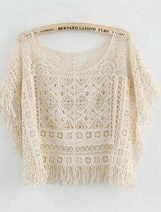 LACE HOLLOW OUT TESSEL SHIRT