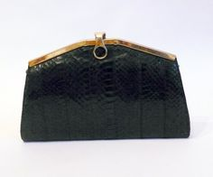 1980'S Leather snake  vintage  Bag clutch hand bag by DorisVintage, $119.00