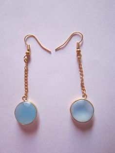 1pcs.Sky blue Chalcedony gold vermiel connectors Earringss pair Approx 21cts.
