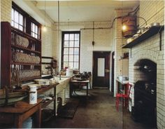 """(Lowden Hall's kitchen in BLIND FORTUNE looks something like this.) """"A half hour later, Balor had dragged Fortuna down the servant's stairs, through the bustling basement kitchen and out into the garden. The spring morning air still held a bite, as well as a hint of mist. The strong scent of coal smoke mingled with the musty odor of damp earth."""""""