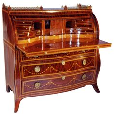 Dutch Neo-Classical Decorated Rolltop Desk | From a unique collection of antique and modern secretaires