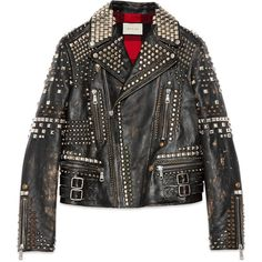 Gucci Studded Leather Biker Jacket ($18,650) ❤ liked on Polyvore featuring men's fashion, men's clothing, men's outerwear, men's jackets, coats, jackets, black, mens leather sleeve jacket, mens vintage jackets and mens leather motorcycle jacket
