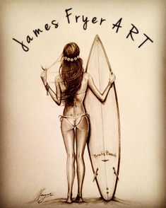 Zoom on the works of James Fryer: surfer, firefighter and artist! Surfboard Drawing, Surf Drawing, Pop Art Drawing, Human Drawing, Surfboard Art, Sketch Painting, Pencil Art Drawings, Surf Design, Tiki Art