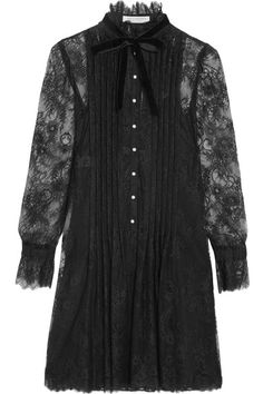 Black lace Button fastenings along front 100% polyamide; lining: 100% polyester Dry clean  Made in Italy