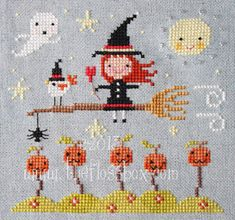 Never too early (or late!) to start your Halloween stitching. This pattern is loads of fun! Stitch size is 70 x 66. Uses DMC thread. Charts are in black and white, but color is available. Please send a message if you are interested in printouts. Thanks for visiting The Floss Box on