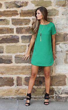 For Me: bubble gum shift dress - green Chic Outfits, Dress Outfits, Fashion Dresses, Green Dress Outfit, Green Shift Dress, Cute Dresses, Casual Dresses, Short Dresses, Boutique Clothing