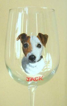 Jack Russell Terrier  Pet Portrait Wine Glass Hand by petzoup