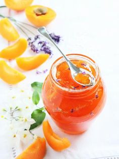 Apricot, nectarine and lavender jam Veggie Recipes, Cooking Recipes, Fruit Compote, Grilling Gifts, Jam And Jelly, Vegetable Drinks, Healthy Eating Tips, Food Videos, Food Inspiration